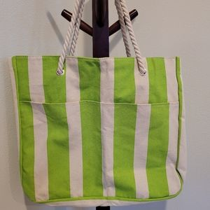 DSW lime green striped large tote bag